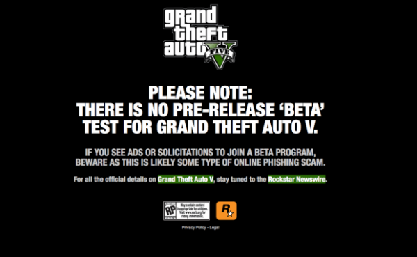 Rockstar Games advierte de la falsa beta de GTA V