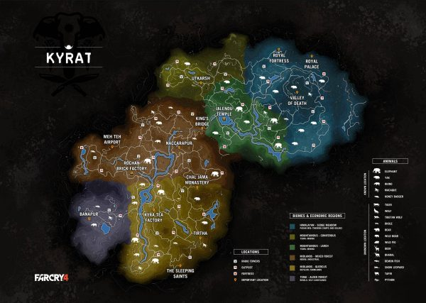Mapa Kyrat - Far Cry 4