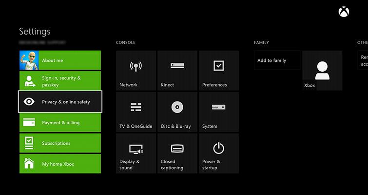 Solucionar problemas de privacidad en Xbox One