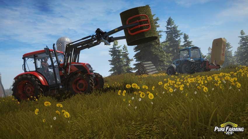 Recogida de hierba y creación de fardos