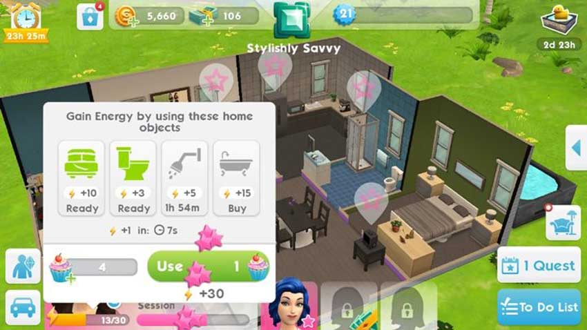 recuperar energía en The Sims Mobile